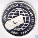 "Turkey 500 lira 1982 (PROOF - medal alignement) ""World Championship Soccer - Madrid"""