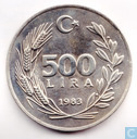 "Turkey 500 lira 1983 ""Lydia- First Coin in the World"""