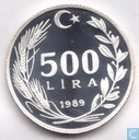 "Turkey 500 lira 1989 (PROOF) ""Mexico edition"""