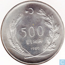 "Turkey 500 lira 1980  ""F.A.O."""