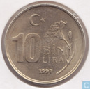 Turkey 10 bin lira 1997 (Thick type)