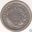 "Turquie 1000 lira 1988 (PROOF) ""400th Anniversary - Death of Architect Sinan"""