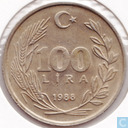 Turkey 100 lira 1988 (copper-nickel-zinc)