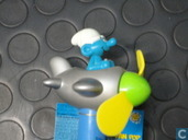 Smurf in airplane (yellow-green propeller)