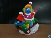 Smurf and Smurfette  on sled