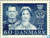 Postage Stamps - Denmark - King Frederick IX and Ingrid-Wedding Anniversary