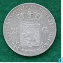 Netherlands 2½ gulden 1845 (Hyphen between Crown and coat of arms)