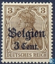 """German stamps with print with """"Belgien"""""""