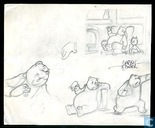 Marten Toonder: drawings of postures and facial expressions Mr Bommel and Tom puss