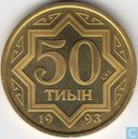 Kazachstan 50 tyin 1993 (PROOF - zink bekleed met messing)