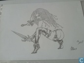 The Swords Princess original drawing Mike Ratera