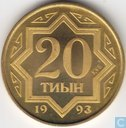 Kazakhstan 20 tyin 1993 (PROOF - zinc plated brass)