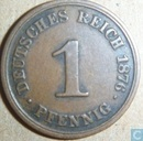 German Empire 1 pfennig 1876 (J)