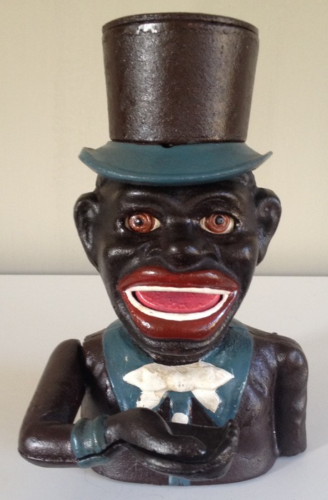 Jolly Nigger Bank, cast iron black piggy bank