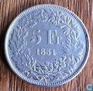 Switzerland 5 francs 1851