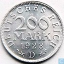 German Empire 200 mark 1923 (D)