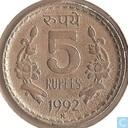 India 5 rupees 1992 (Hyderabad, security edge)