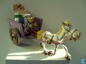 Asterix and Obelix in horse and wagon