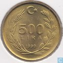 Turkey 500 lira 1990 (coarse hair)