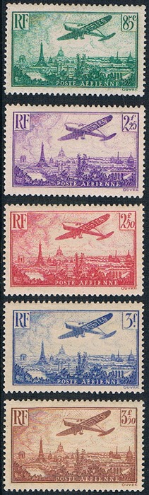 France 1936 - Aeroplane over Paris - Michel 305 and 307/310