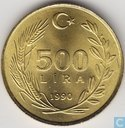 Turkey 500 lira 1990 (Fine hair)