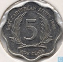 East Caribbean États 5 cents 1992
