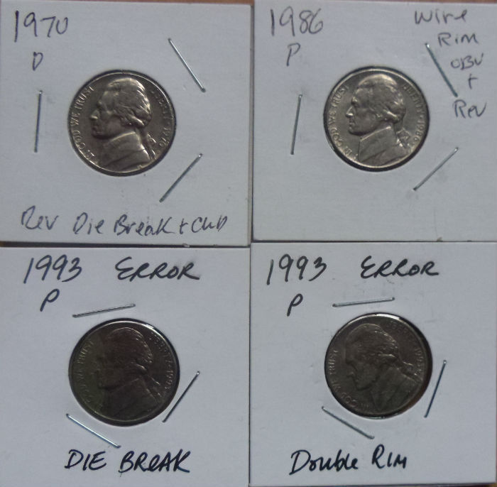 United States - 5 and 25 dollar cents + 1 dollars with die errors