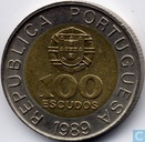Portugal 100 escudos 1989 (6 reeded and 6 plain sections)