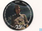 AAFES 25c 2009 Military Picture Pog Gift Certificate 13L251 holografisch