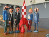 Wooden Tintin characters