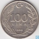 Turkey 100 lira 1986 (large date letters)