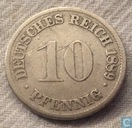 German Empire 10 pfennig 1889 (D)