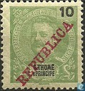 King Carlos I, with double overprint