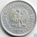 Pologne 1 zloty 1975 (avec marque d'atelier)