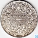 British India 1 rupee 1862 (A/II 0/4-points of flower)