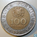 Portugal 100 escudos 1990 (6 reeded and 6 plain sections)