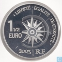 "France 1½ euro 2003 (PROOF) ""airplane and Tokyo Geisha"""