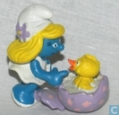 Smurfette with chick in egg