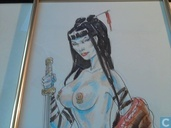 Mike Ratera dessin original en couleurs Geisha