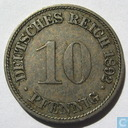 German Empire 10 pfennig 1892 (F)
