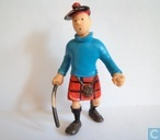 Tintin in Scottish costume