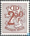 Digit on heraldic lion with B in an oval