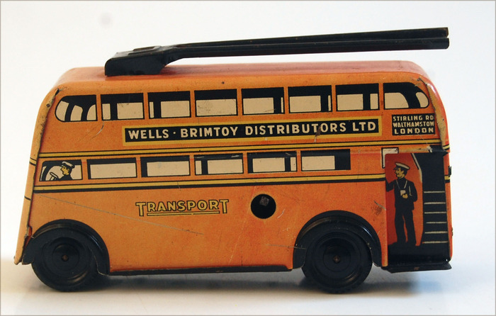 London trolley bus, Stirling Rd. & Walthamstow trolley bus…  Vintage tin, By Wells of London.