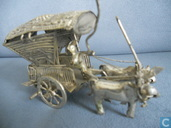 miniature Indonesia, man with 2 karbouwen and a car