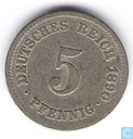 German Empire 5 pfennig 1890 (J)
