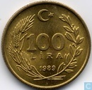 Turkey 100 lira 1989 (Thick hair - type 1)