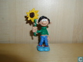 Gaston lagaffe with yellow Sunflower (b)