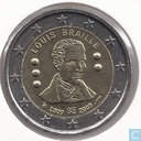 "Belgique 2 euro 2009 ""200th Anniversary of the birth of Louis Braille (1809-2009)"""