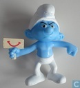 Grumble Smurf with small plate 'smile'