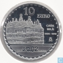"Spain 10 euro 2002 (PROOF) ""150th anniversary of the birth of Antoni Gaudi - Casa Milà"""